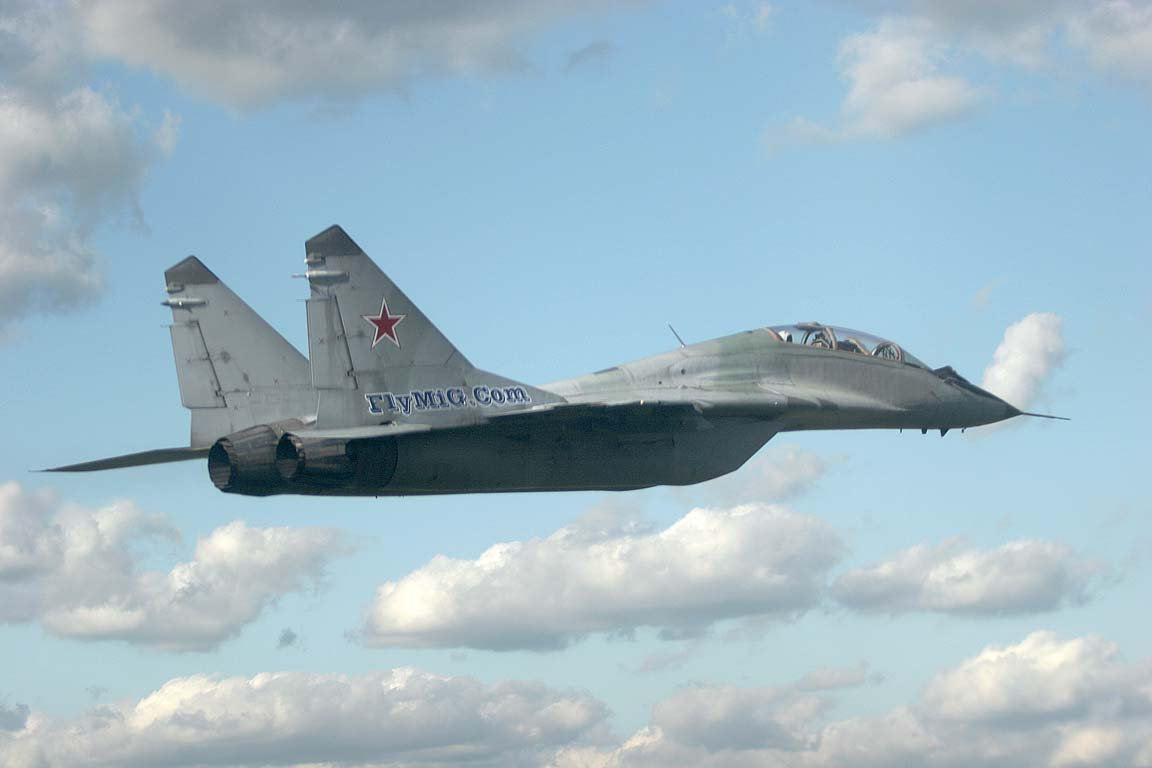 MiG-29 in the air with video camera installed in a cockpit